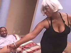 Ebony sista gags on a huge schlong