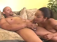 Ebony whore in fuck and blow orgy